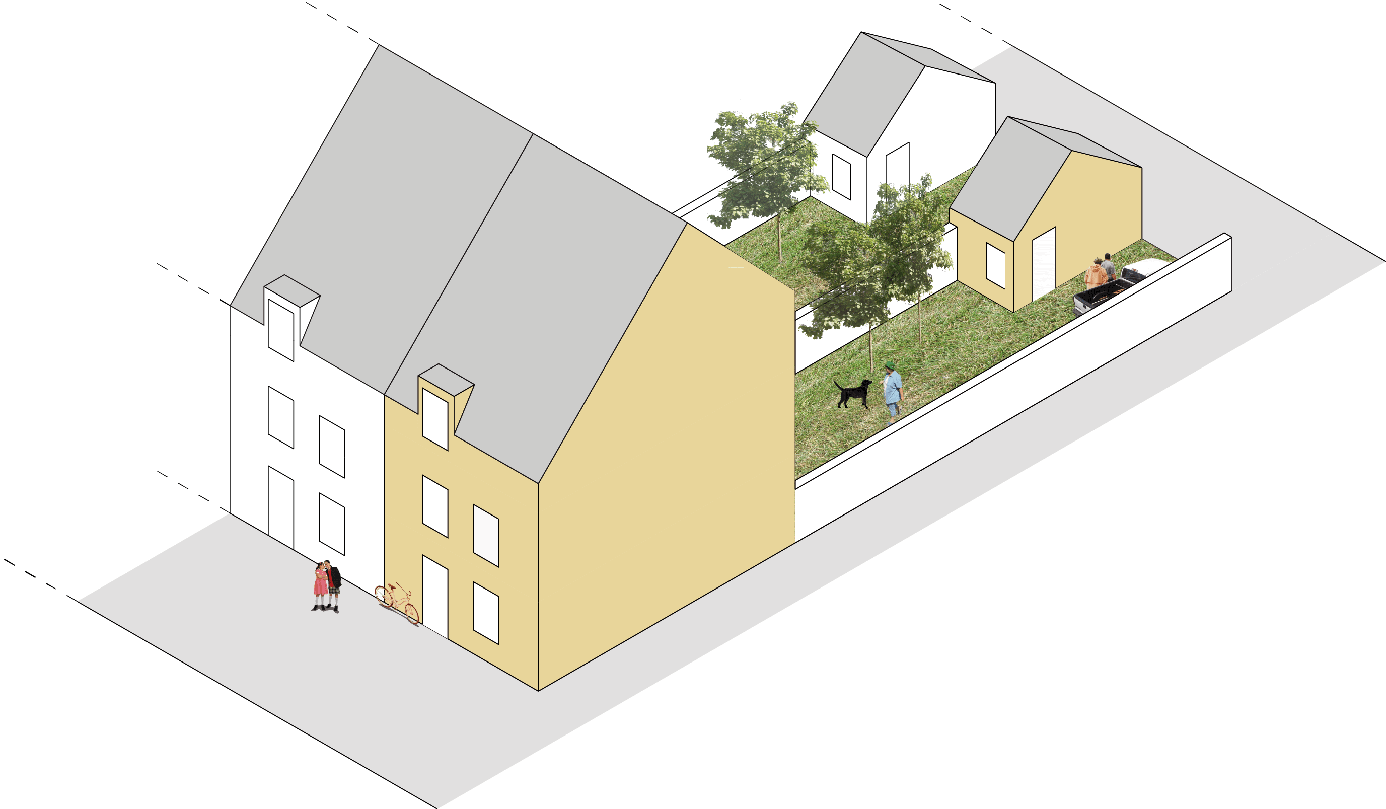 Terraced house axonometric at An Camas Mor, Rothiemurchus, Aviemore, Cairngorms